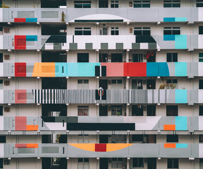 A colorful apartment block building - white balance photography