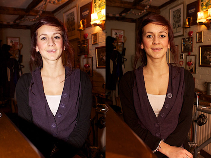 Diptych portrait of a female model comparing the use of an external flash at !SO 1250 and 400