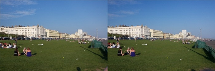 A diptych of the same photo of people sitting in a grassy park on a sunny day, before and after using a polarizing filter