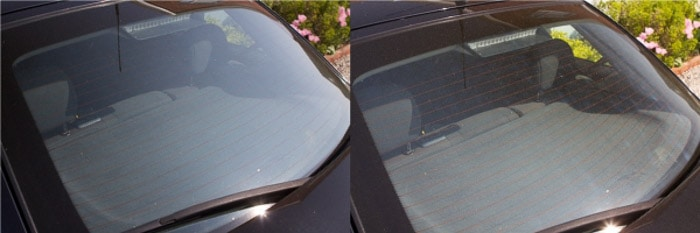 A diptych of the same photo of car window on a sunny day, before and after using a polarizer filter