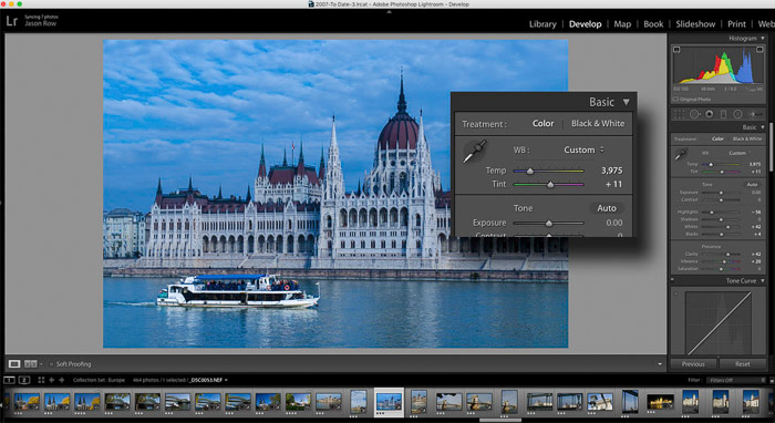 Screenshot of adjusting white balance in post production