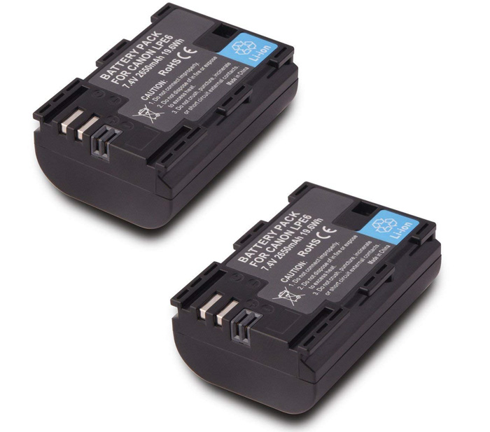 Canon LP-E6 LP E6N Batteries on white background