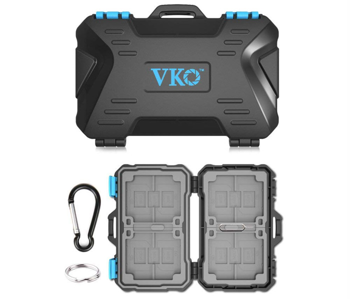 A VKO Memory Card Case camera accessory on white background