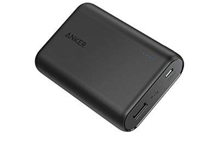 An Anker powerbank on white background