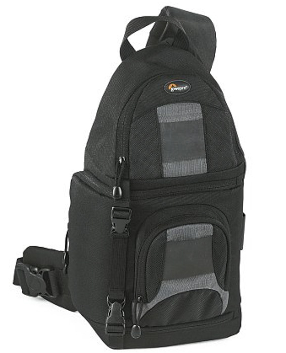 A Lowepro SlingShot 100 All-Weather Digital Camera Backpack on white background - essential camera accessories