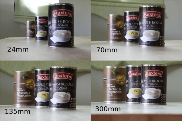 Perspective shown on 4 photos of canned food packages placed at a different distance to each other