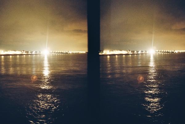 Photo of sunset on the sea taken on film