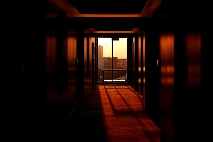 Foto de un pasillo con vista desde la ventana en la parte de atrás.