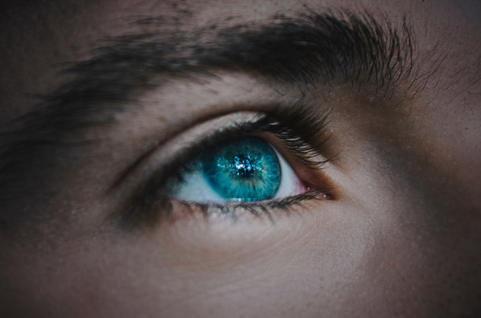 A close up of a models blue eye - how to take better pictures
