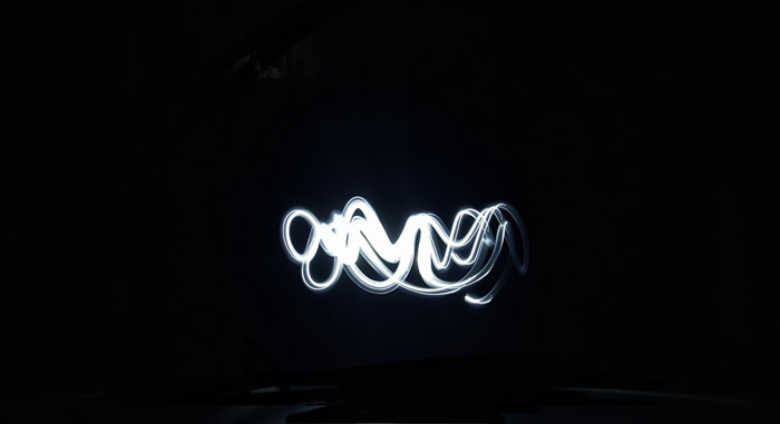 Atmospheric shot of wavy white light painting