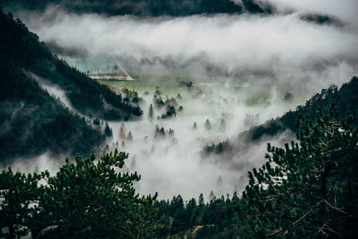 High angle view of a misty landscape