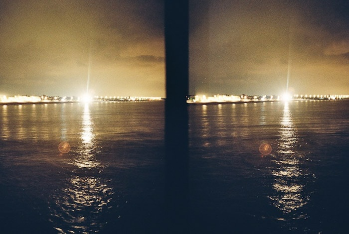 Film photography of a seascape at night