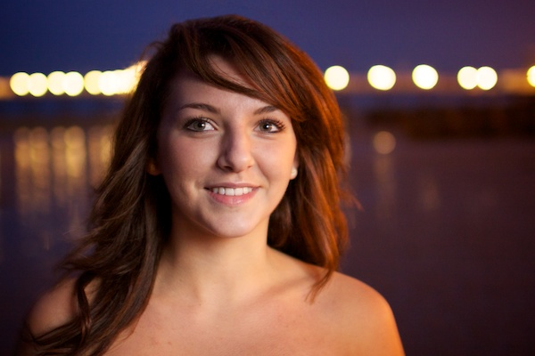 Portrait of a female model outdoors at night - post processing stages