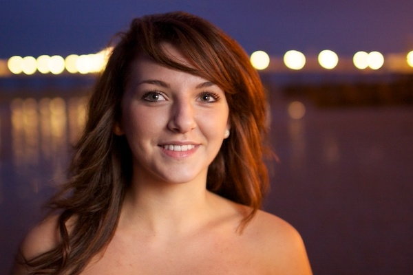 Portrait of a female model outdoors at night , using post processing take 2