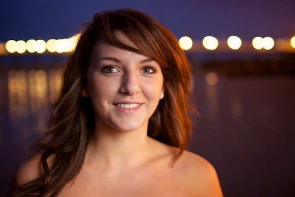Portrait of a female model outdoors at night , using post processing take 3