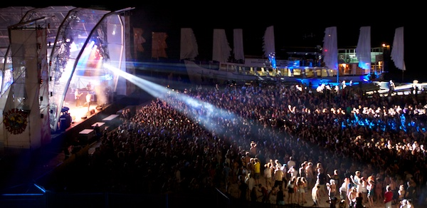 A concert in an outdoor arena