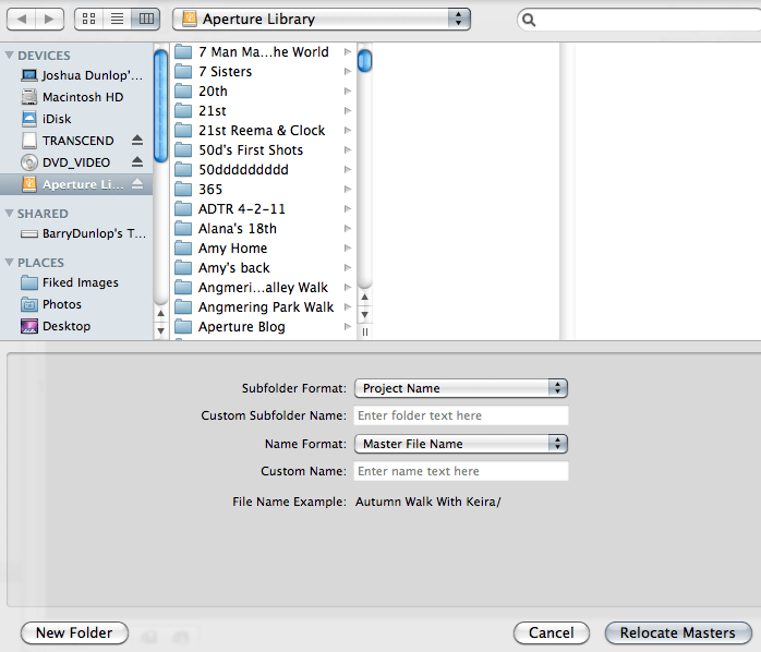 A screenshot of the organization setup of the Aperture Library with the specific folders in it