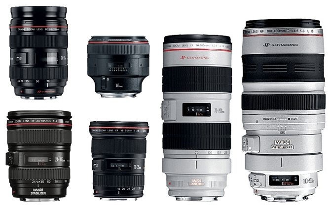 An overhead shot of 6 Canon or Nikon lenses