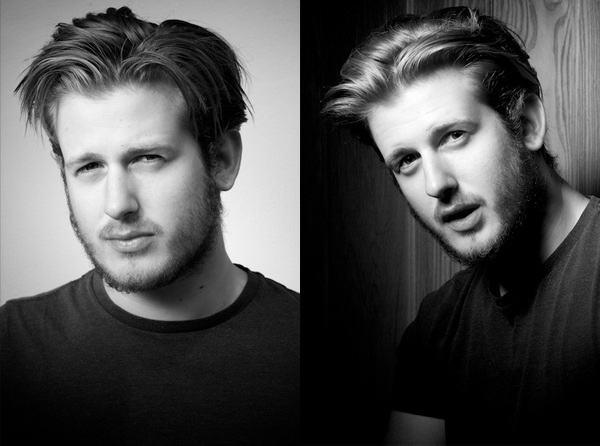 black and white portrait diptych of a young man