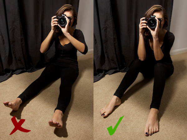 Two positions on How to Hold a Camera while sitting down