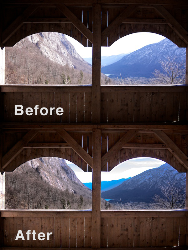 A before and after shot of using the Burn & Dodge Tools Instead of HDR