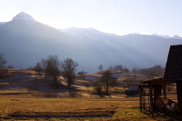 an edited photo of the Slovenian mountains