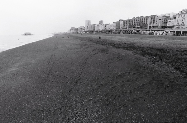 A gloomy beach scene - black and white street photography