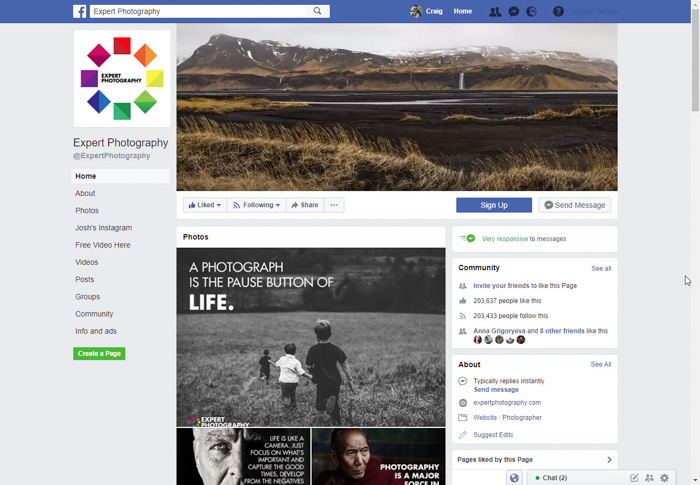 screenshot of the expert photography Facebook page