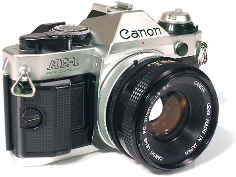 The Canon AE-1 film camera on white background