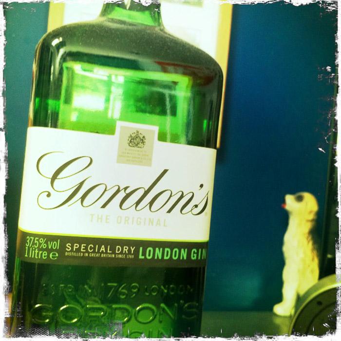 A bottle of gordons gin