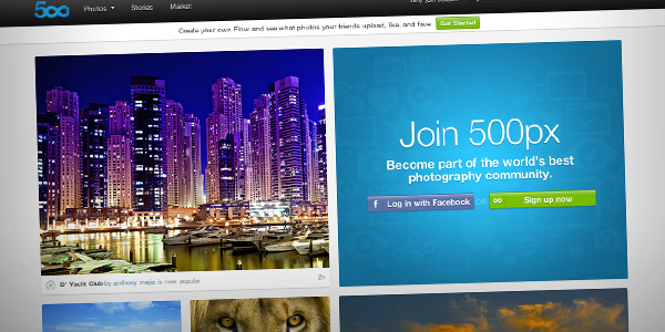 500px Top 20 Photography Websites 2012