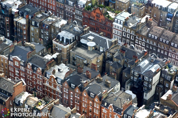 An image looking down on terraced houses. High Angle – 30 Day Photography Challenge Tips