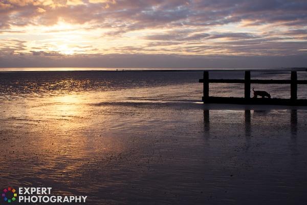A sunset at a beach scene
