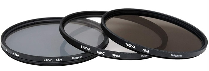 Three different camera lens filters