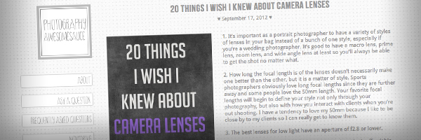 20 Things I Wish I Knew About Camera Lenses  Top 50 Photography Posts 2012