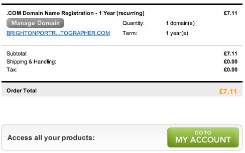 screen shot of buying a domain name