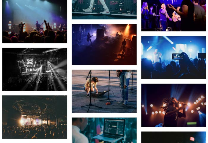 A grid of live concert photography shots