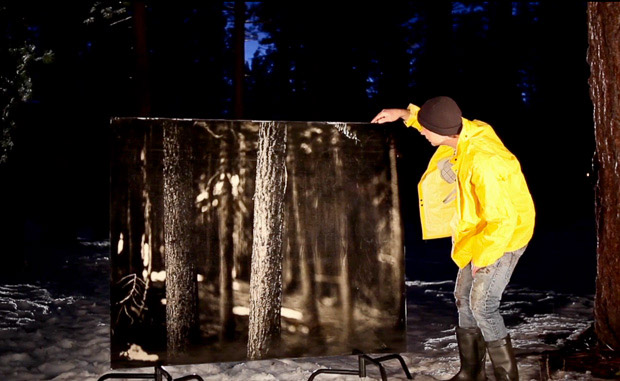 A man in yellow jacket standing in a forest and holding a large printed forest photo