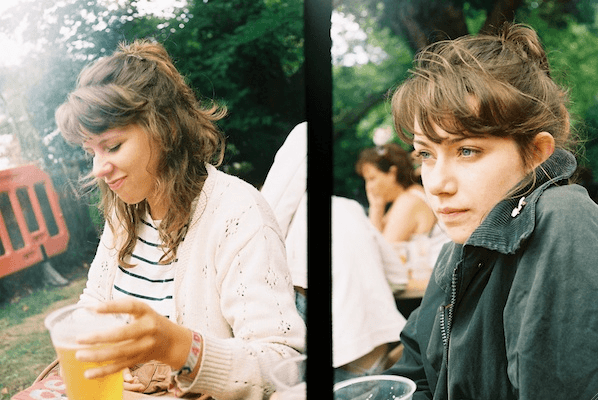 Diptych of a girl drinking beers outdoor taken with a classic film camera
