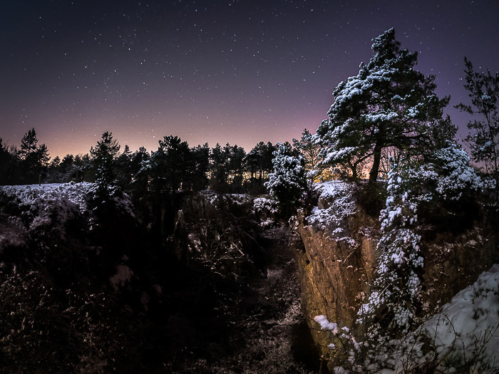 A night landscape shot of Fondry des Chiens, Belgium taken with a night sky camera