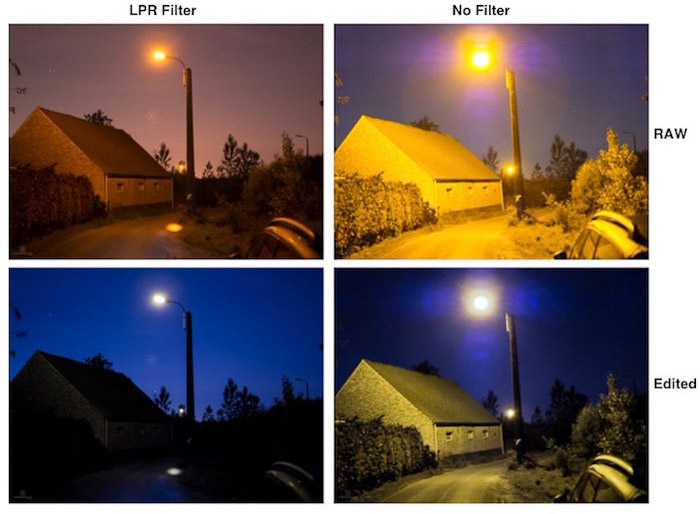 A four photo grid showing the effects of the LPR filter on Belgian streetlights at night