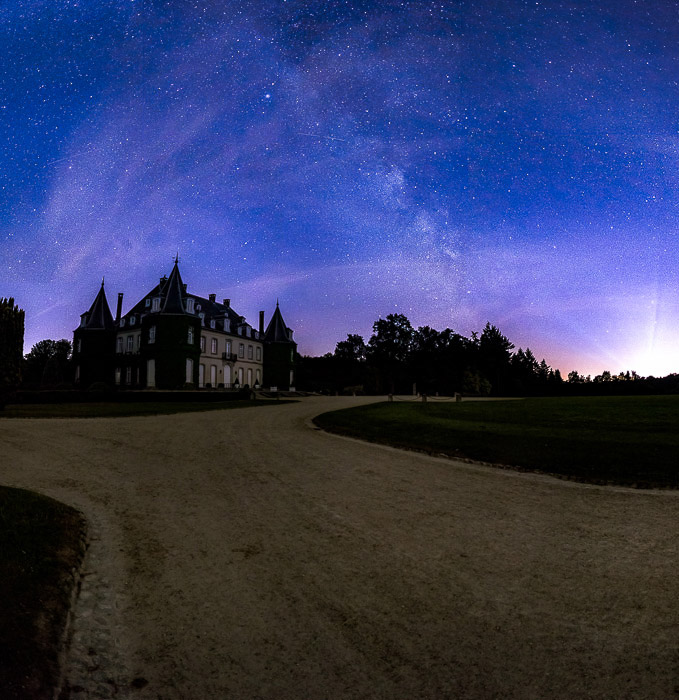 A night photo of the Chateau de la Hulpe, few miles from Brussels (Belgium). This is a night landscape panorama of 12 photos