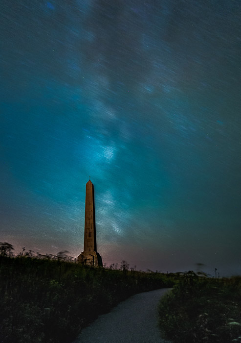 Atmospheric night view of the Obelisk in Cap-Blanc-Nez (France).