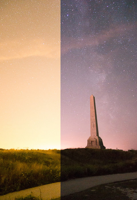 A split photo showing the effect of the LPR filter in a rural area (Cap-Blanc-Nez, France) on uneditedimages. Sony RX100Mk2 + LPR filter.