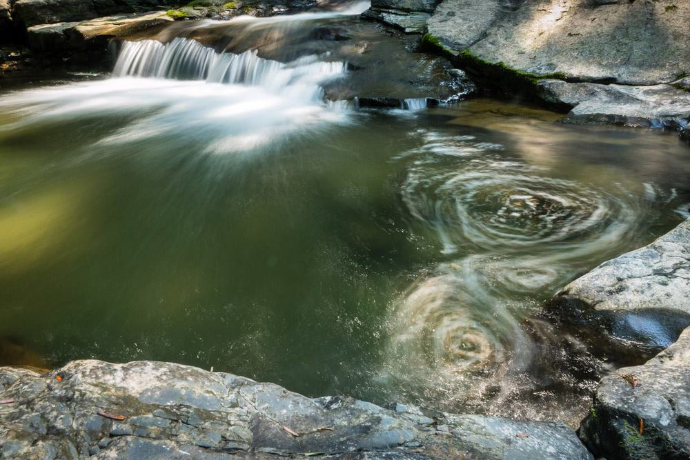 Photo of a small waterfall on a river showcasing the long exposure technique