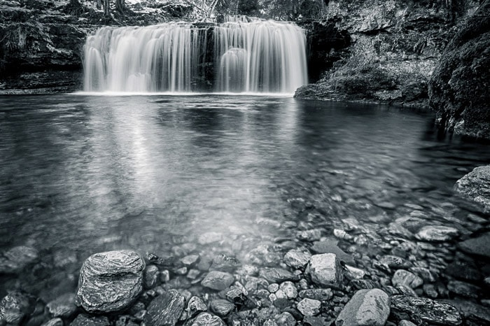 Silky motion blur in the water of Ferrera Waterfall, Italy