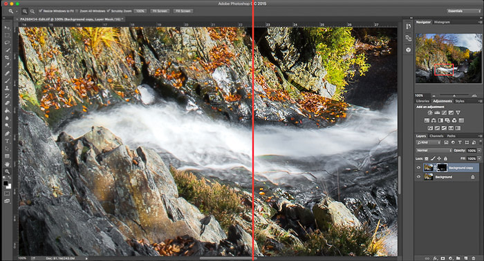 Screenshot showing Before (left) and after (right) the use of the motion filter in Adobe Photoshop CC to add motion blur to an image