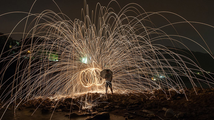 Steel Wool Photography Vertical Spin
