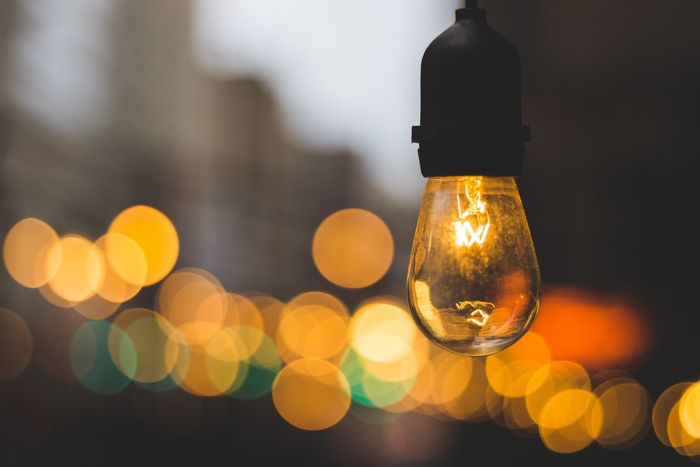 photo of a lightbulb with bokeh effect