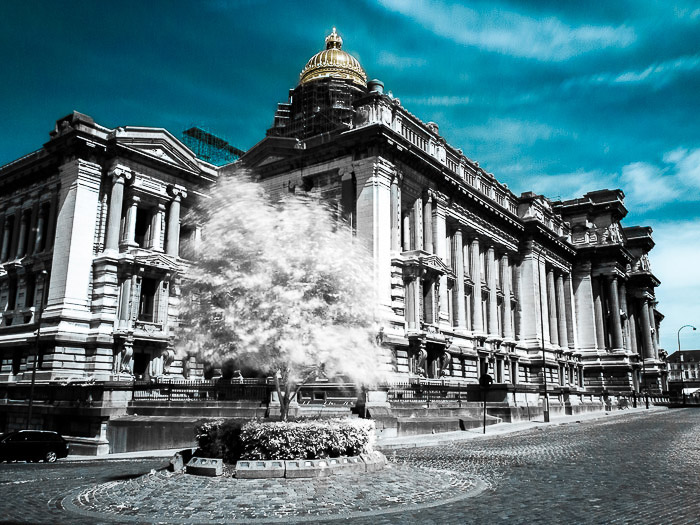 The impressive Justice Palace in Brussels (Belgium) shot with infrared photography